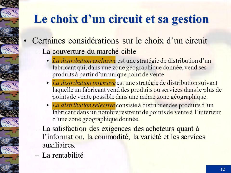 12 Certaines considérations sur le choix dun circuit –La couverture du marché cible La distribution exclusive est une stratégie de distribution dun fa
