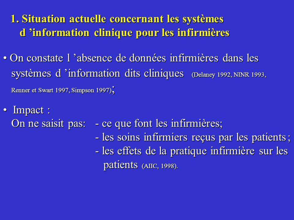1. Situation actuelle concernant les systèmes d information clinique pour les infirmières On constate l absence de données infirmières dans les systèm