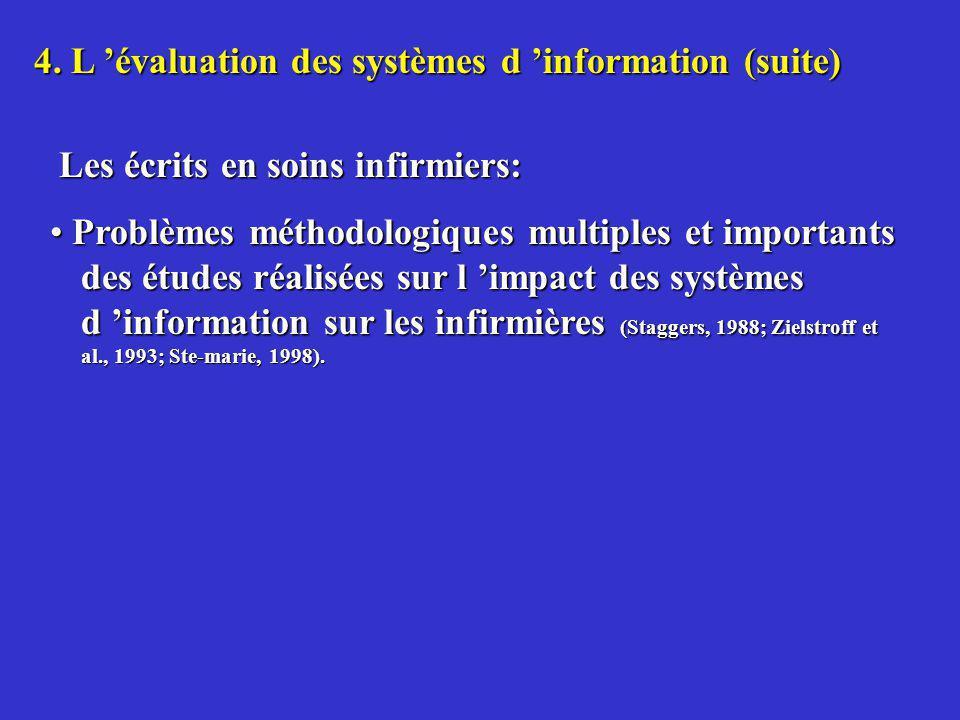 4. L évaluation des systèmes d information (suite) Les écrits en soins infirmiers: Les écrits en soins infirmiers: Problèmes méthodologiques multiples