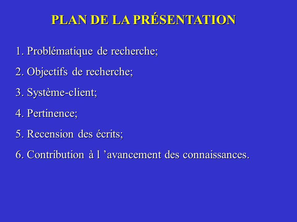 PLAN DE LA PRÉSENTATION 1. Problématique de recherche; 2. Objectifs de recherche; 3. Système-client; 4. Pertinence; 5. Recension des écrits; 6. Contri