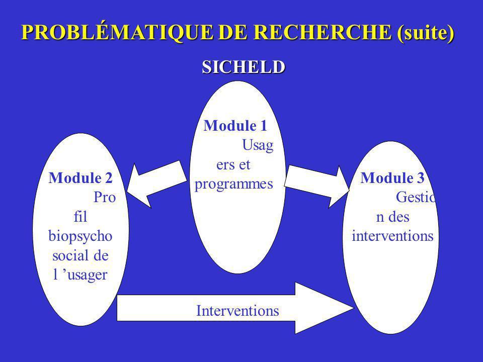 PROBLÉMATIQUE DE RECHERCHE (suite) SICHELD Module 1 Usag ers et programmes Module 2 Pro fil biopsycho social de l usager Module 3 Gestio n des interve