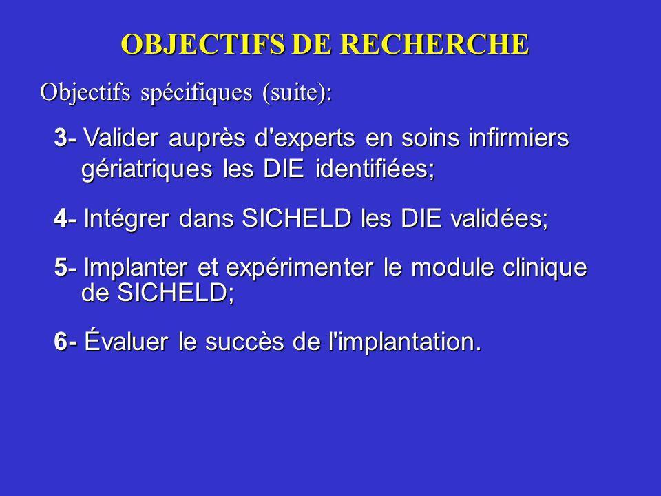 OBJECTIFS DE RECHERCHE Objectifs spécifiques (suite): 3 - Valider auprès d'experts en soins infirmiers gériatriques les DIE identifiées; 4 - Intégrer
