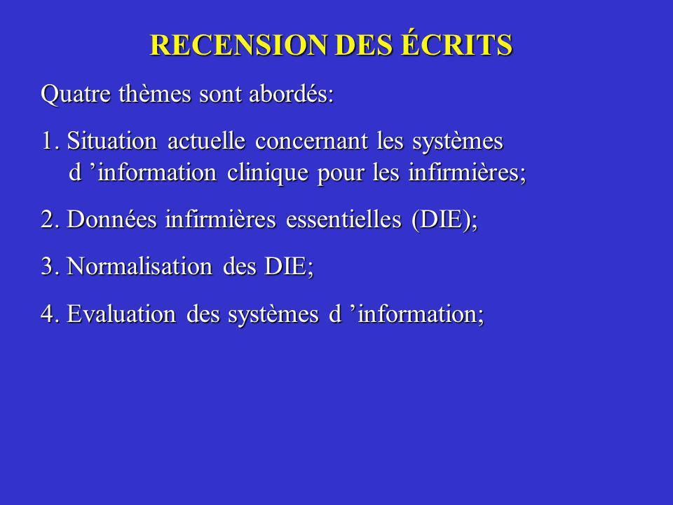 RECENSION DES ÉCRITS Quatre thèmes sont abordés: 1. Situation actuelle concernant les systèmes d information clinique pour les infirmières; 2. Données