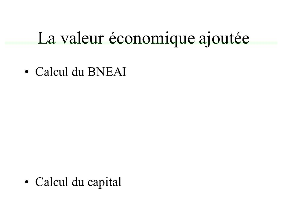 La valeur économique ajoutée Calcul du BNEAI Calcul du capital