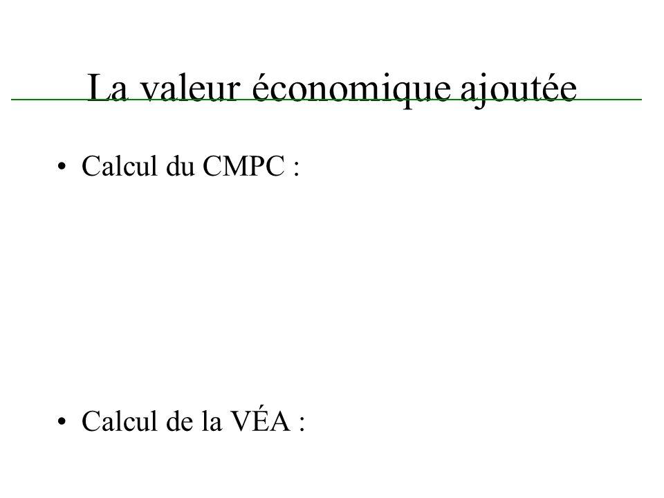 La valeur économique ajoutée La valeur économique ajoutée nous aide pour déterminer la rentabilité dun projet.