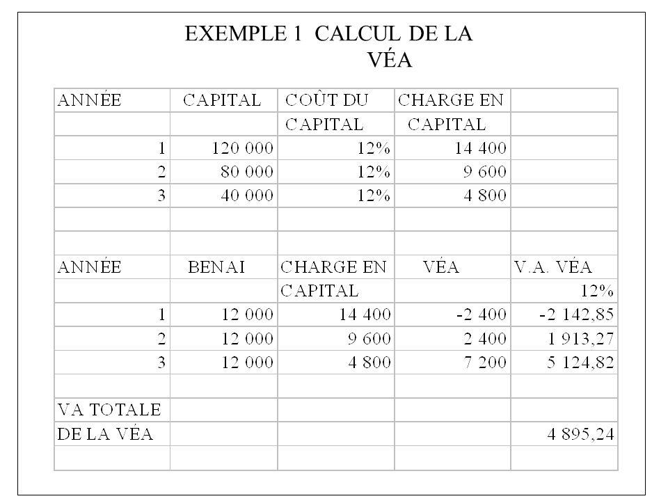 EXEMPLE 1 Ü CE PROJET EST RENTABLE CAR LA VALEUR ACTUELLE DES VALEURS ÉCONOMIQUES AJOUTÉES EST POSITIVE.