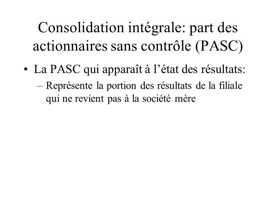 Consolidation intégrale: part des actionnaires sans contrôle (PASC) La PASC qui apparaît à létat des résultats: –Représente la portion des résultats de la filiale qui ne revient pas à la société mère