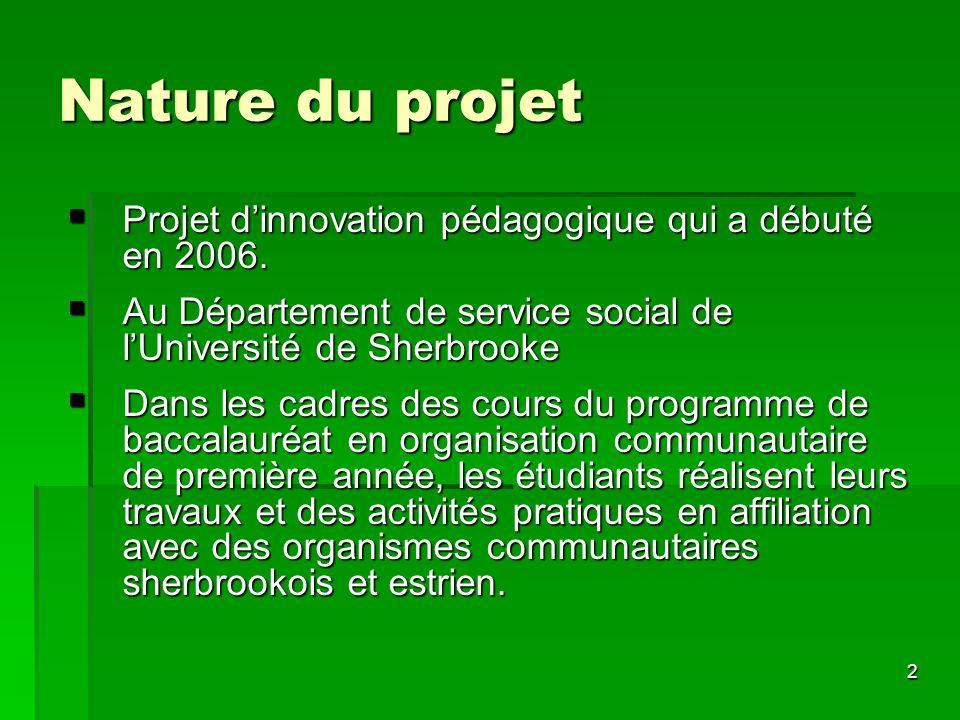 2 Nature du projet Projet dinnovation pédagogique qui a débuté en 2006. Projet dinnovation pédagogique qui a débuté en 2006. Au Département de service