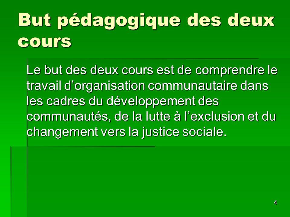 4 But pédagogique des deux cours Le but des deux cours est de comprendre le travail dorganisation communautaire dans les cadres du développement des c