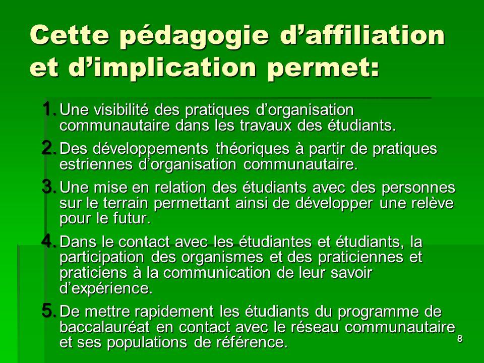 8 Cette pédagogie daffiliation et dimplication permet: 1. Une visibilité des pratiques dorganisation communautaire dans les travaux des étudiants. 2.