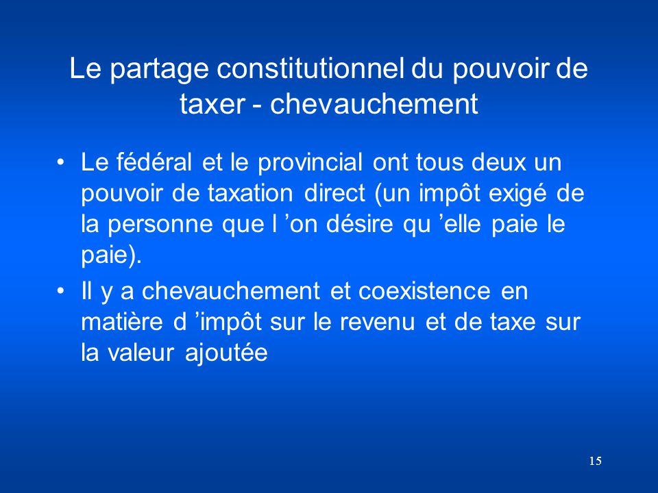 15 Le partage constitutionnel du pouvoir de taxer - chevauchement Le fédéral et le provincial ont tous deux un pouvoir de taxation direct (un impôt ex