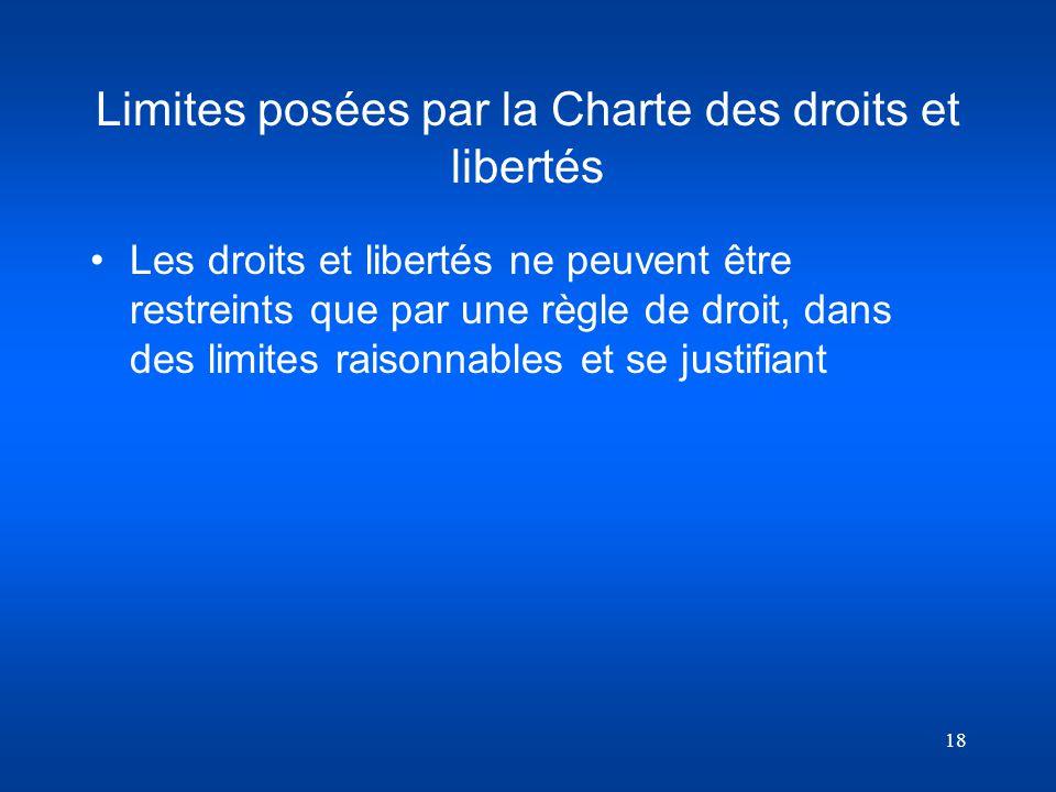 18 Limites posées par la Charte des droits et libertés Les droits et libertés ne peuvent être restreints que par une règle de droit, dans des limites