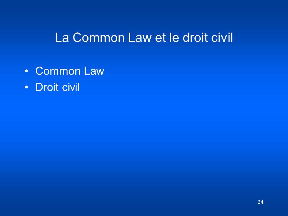 24 La Common Law et le droit civil Common Law Droit civil