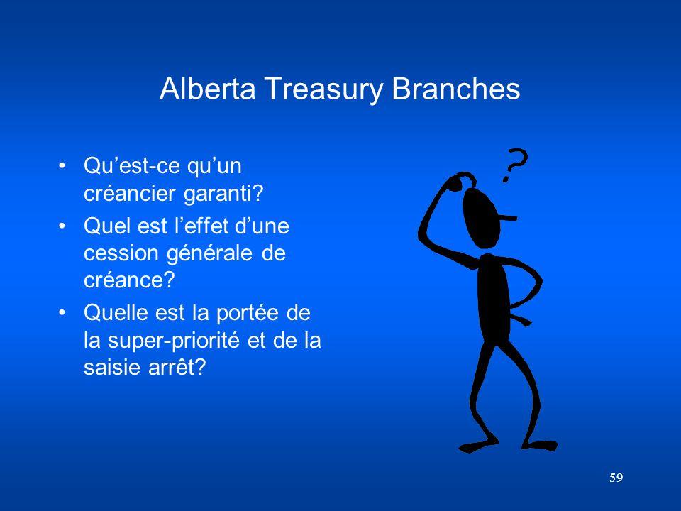 59 Alberta Treasury Branches Quest-ce quun créancier garanti? Quel est leffet dune cession générale de créance? Quelle est la portée de la super-prior