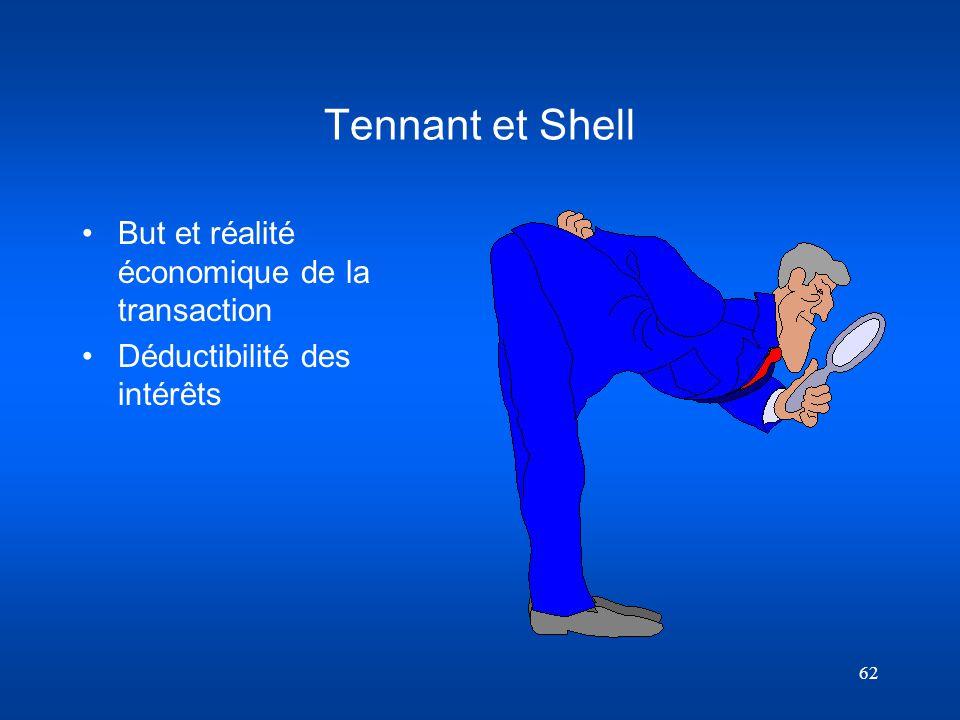 62 Tennant et Shell But et réalité économique de la transaction Déductibilité des intérêts