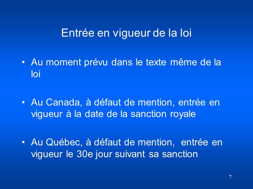 7 Entrée en vigueur de la loi Au moment prévu dans le texte même de la loi Au Canada, à défaut de mention, entrée en vigueur à la date de la sanction
