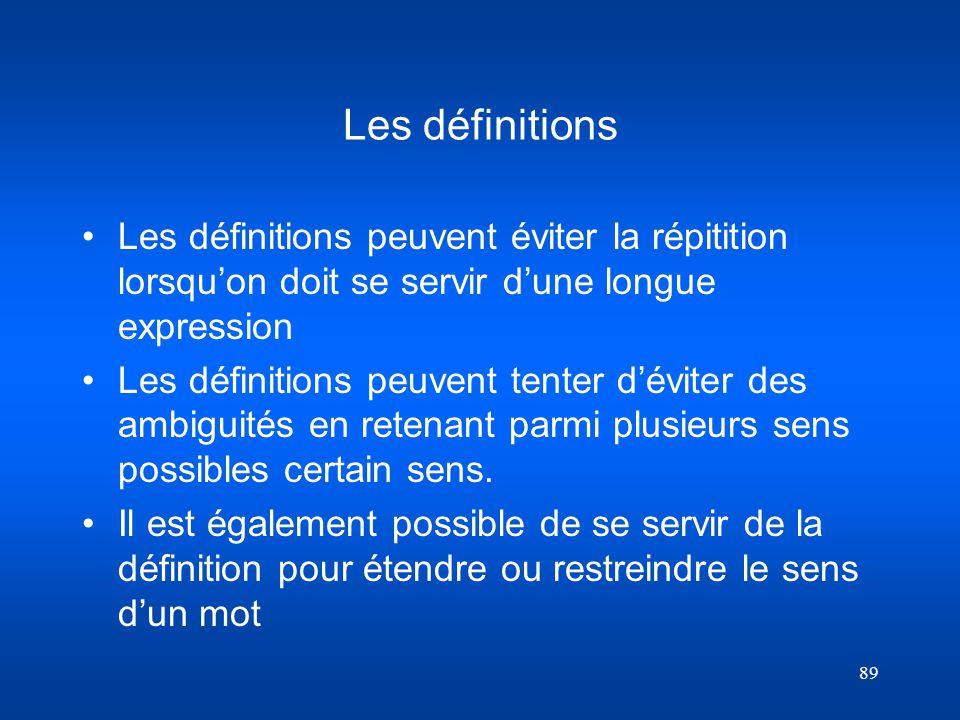 89 Les définitions Les définitions peuvent éviter la répitition lorsquon doit se servir dune longue expression Les définitions peuvent tenter déviter