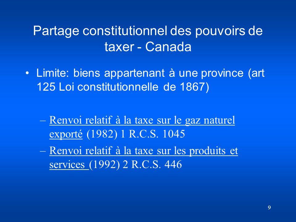 9 Partage constitutionnel des pouvoirs de taxer - Canada Limite: biens appartenant à une province (art 125 Loi constitutionnelle de 1867) –Renvoi rela