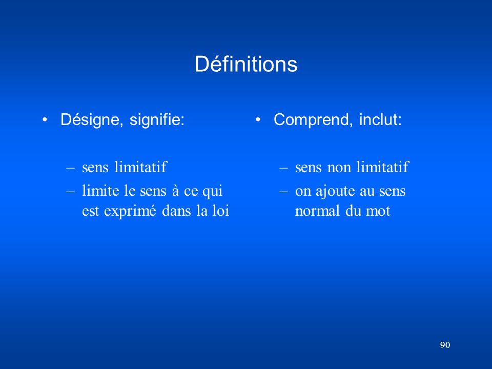 90 Définitions Désigne, signifie: –sens limitatif –limite le sens à ce qui est exprimé dans la loi Comprend, inclut: – sens non limitatif – on ajoute