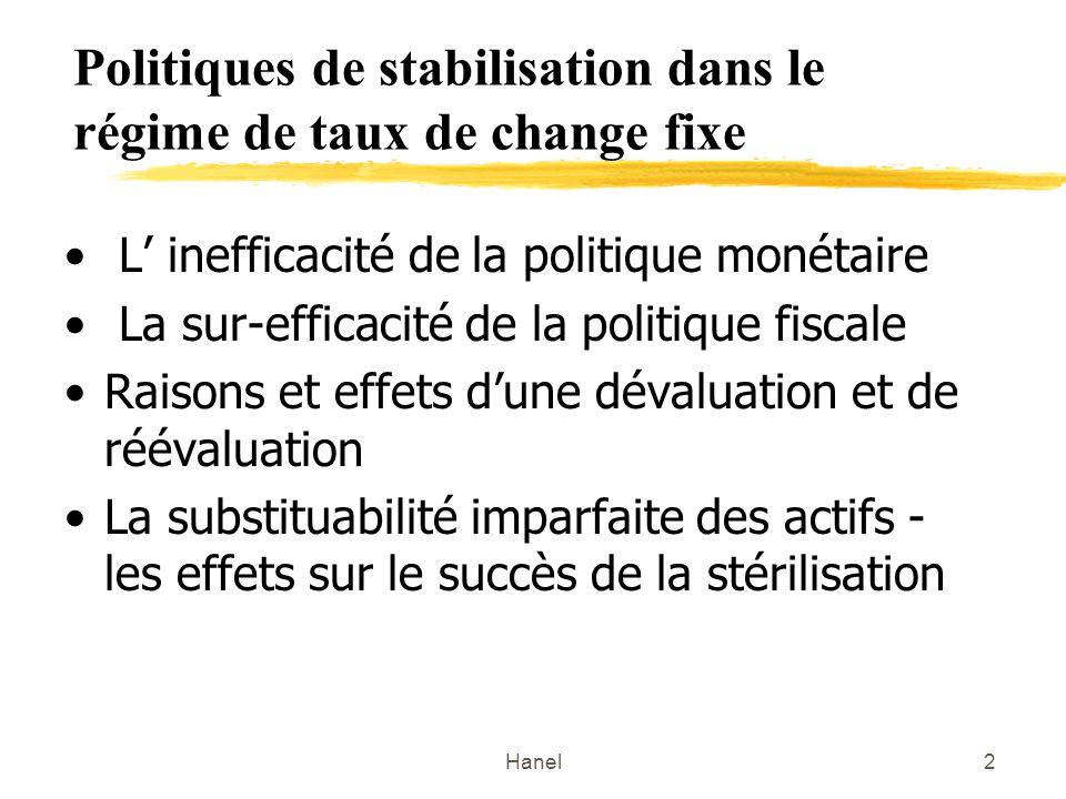 Hanel2 Politiques de stabilisation dans le régime de taux de change fixe L inefficacité de la politique monétaire La sur-efficacité de la politique fiscale Raisons et effets dune dévaluation et de réévaluation La substituabilité imparfaite des actifs - les effets sur le succès de la stérilisation