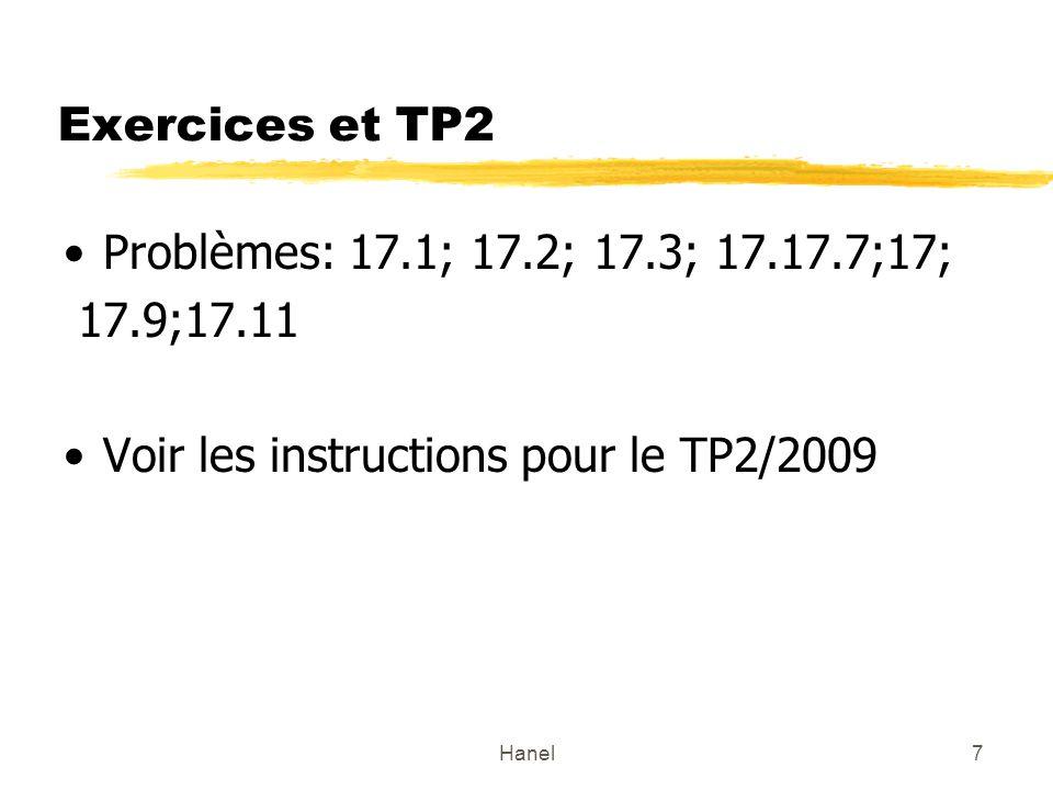 Hanel7 Exercices et TP2 Problèmes: 17.1; 17.2; 17.3; 17.17.7;17; 17.9;17.11 Voir les instructions pour le TP2/2009