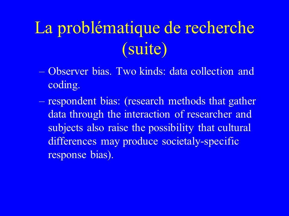 La problématique de recherche (suite) –Observer bias.