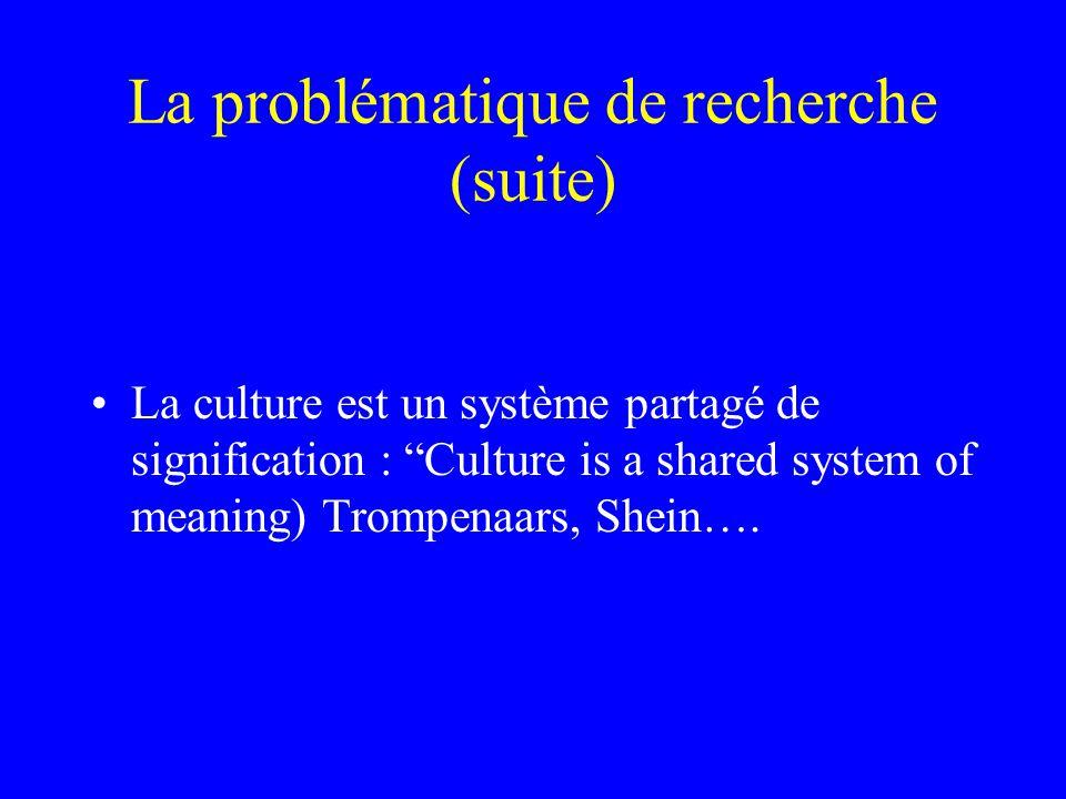 La problématique de recherche (suite) La culture est un système partagé de signification : Culture is a shared system of meaning) Trompenaars, Shein….