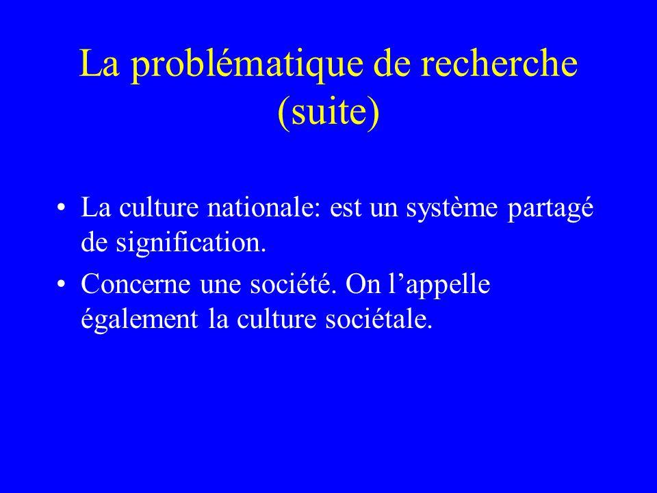 La problématique de recherche (suite) La culture nationale: est un système partagé de signification.