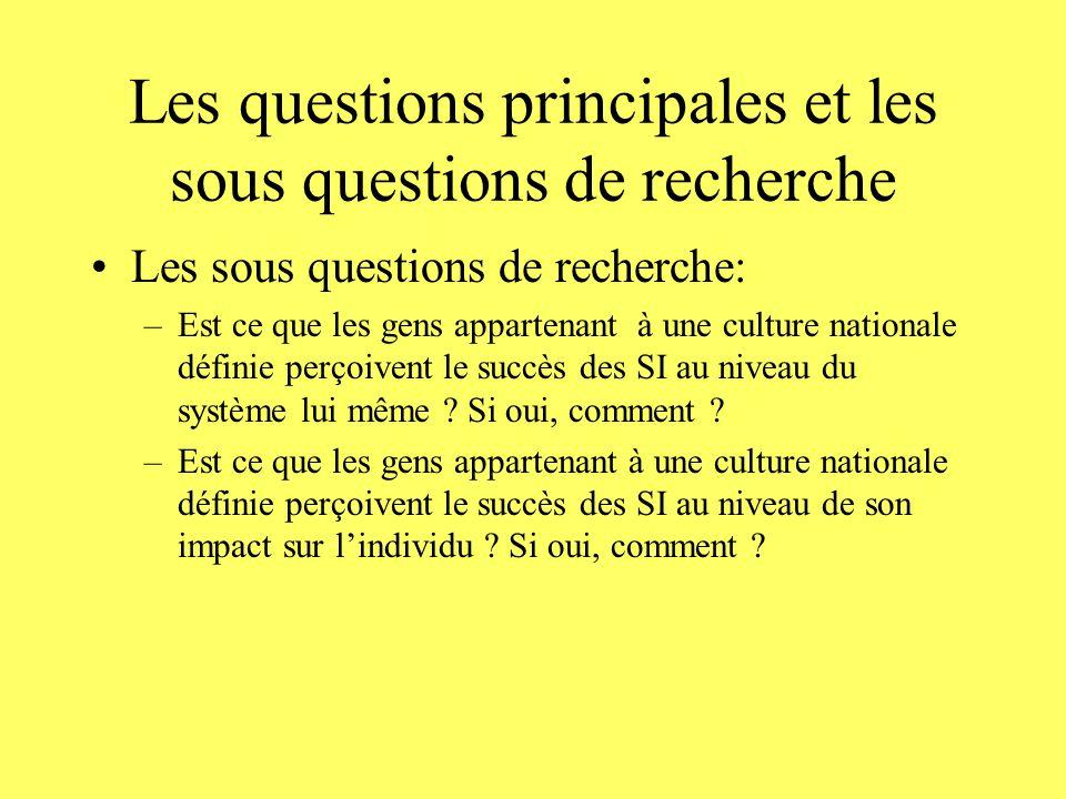 Les questions principales et les sous questions de recherche Les sous questions de recherche: –Est ce que les gens appartenant à une culture nationale définie perçoivent le succès des SI au niveau du système lui même .