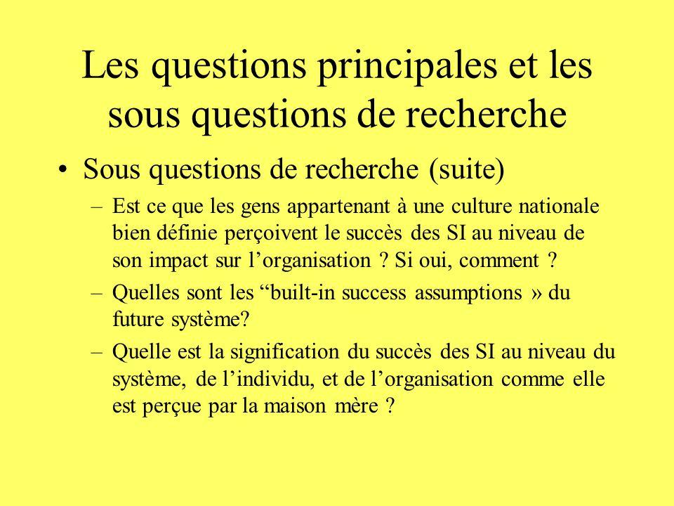 Les questions principales et les sous questions de recherche Sous questions de recherche (suite) –Est ce que les gens appartenant à une culture nationale bien définie perçoivent le succès des SI au niveau de son impact sur lorganisation .