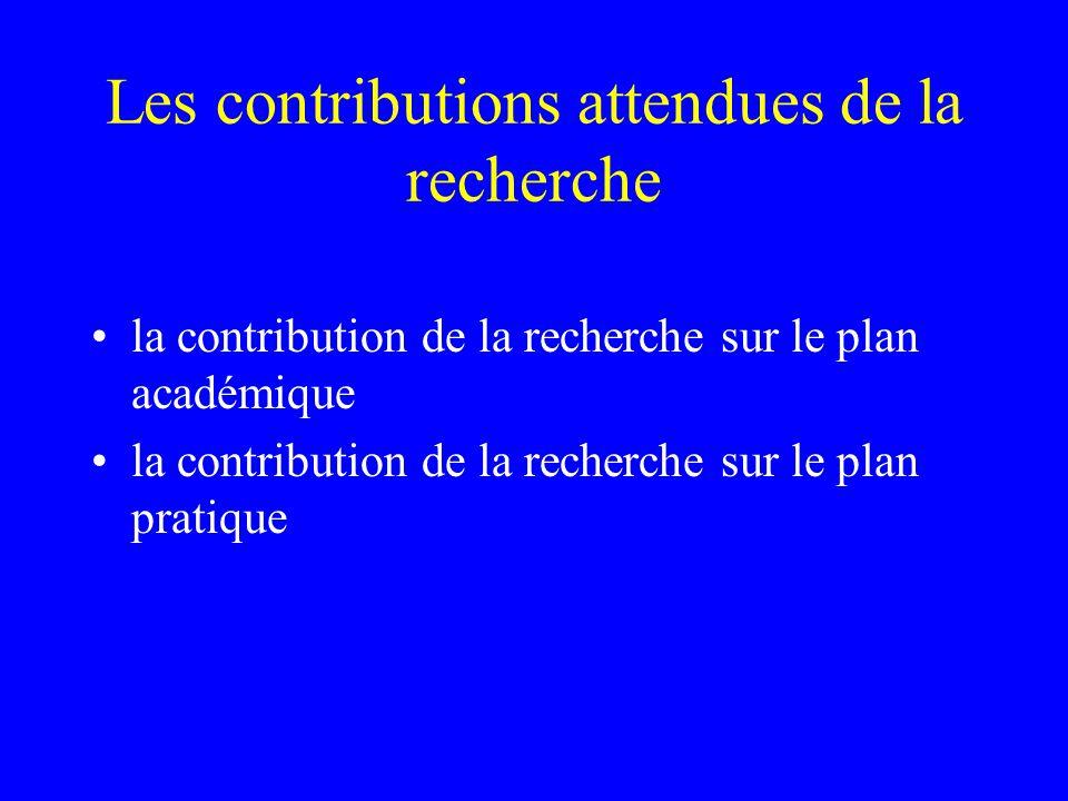 Les contributions attendues de la recherche la contribution de la recherche sur le plan académique la contribution de la recherche sur le plan pratique
