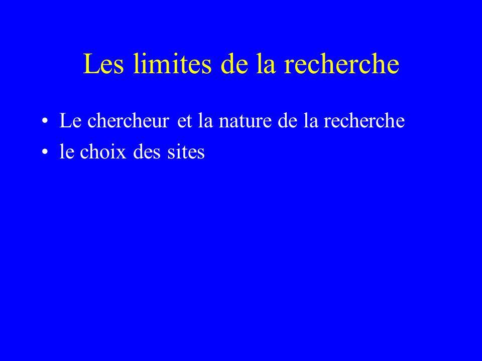 Les limites de la recherche Le chercheur et la nature de la recherche le choix des sites