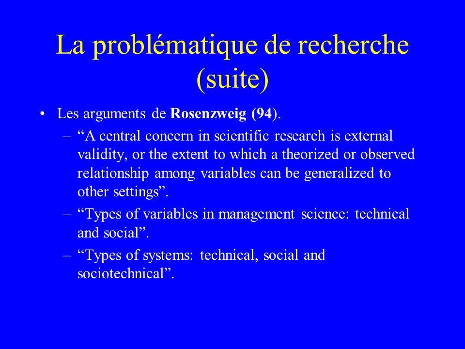 La problématique de recherche (suite) Les arguments de Rosenzweig (94).
