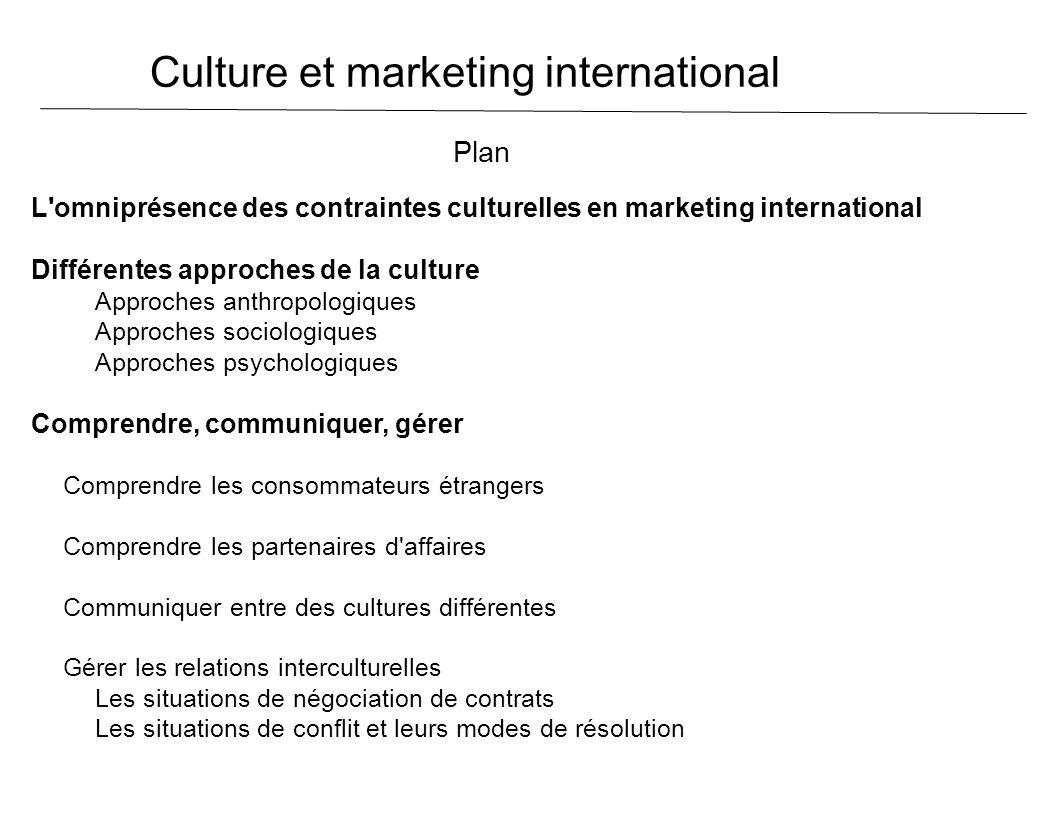 Culture et marketing international Plan L'omniprésence des contraintes culturelles en marketing international Différentes approches de la culture Appr