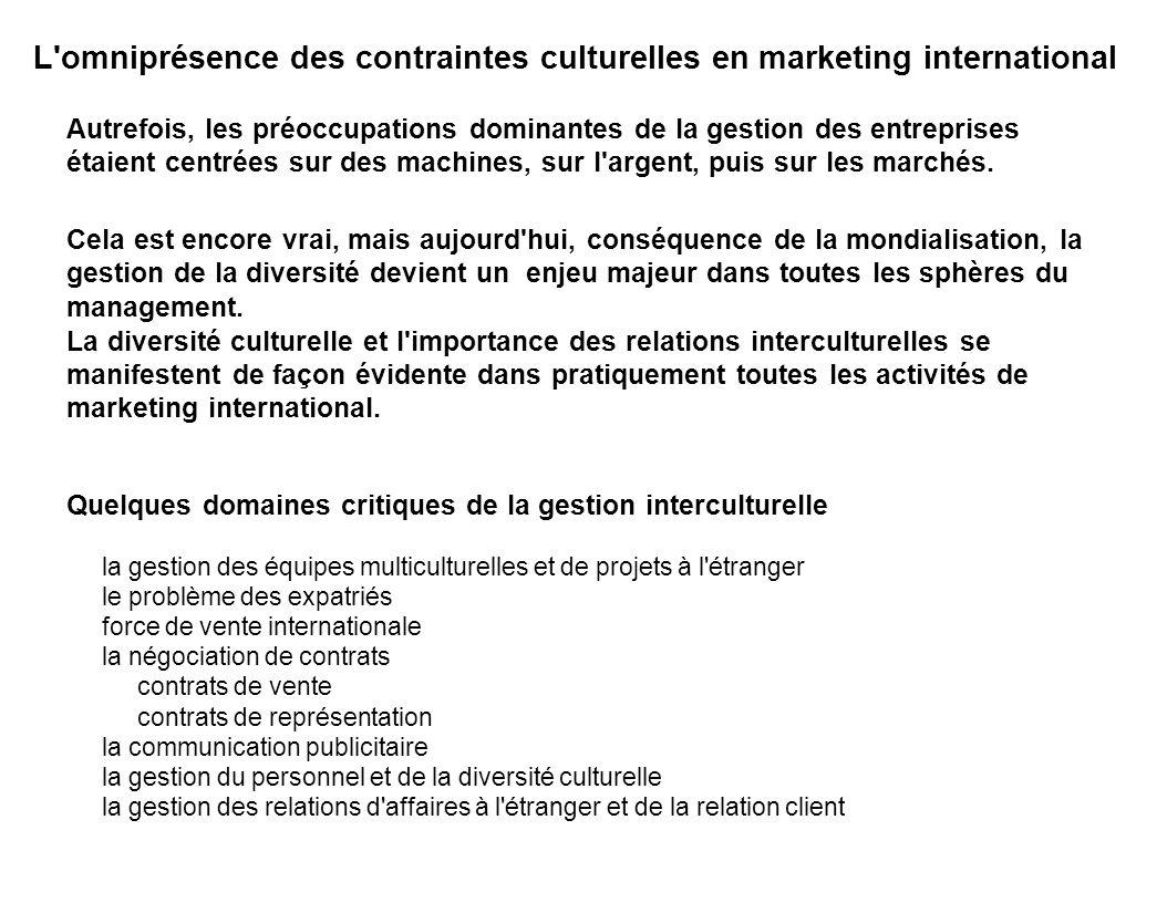 Quelques domaines critiques de la gestion interculturelle la gestion des équipes multiculturelles et de projets à l'étranger le problème des expatriés
