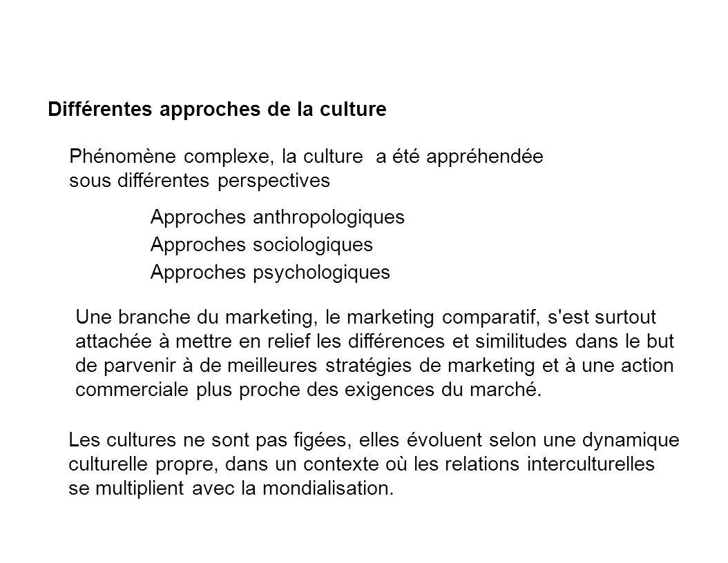 Approches anthropologiques Approches sociologiques Approches psychologiques Les cultures ne sont pas figées, elles évoluent selon une dynamique cultur