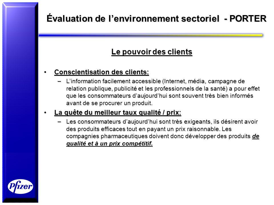 Évaluation de lenvironnement sectoriel - PORTER Le pouvoir des clients Conscientisation des clients:Conscientisation des clients: –Linformation facile