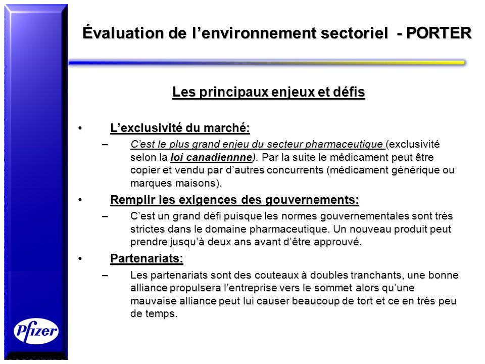 Évaluation de lenvironnement sectoriel - PORTER Les principaux enjeux et défis Lexclusivité du marché:Lexclusivité du marché: –Cest le plus grand enje