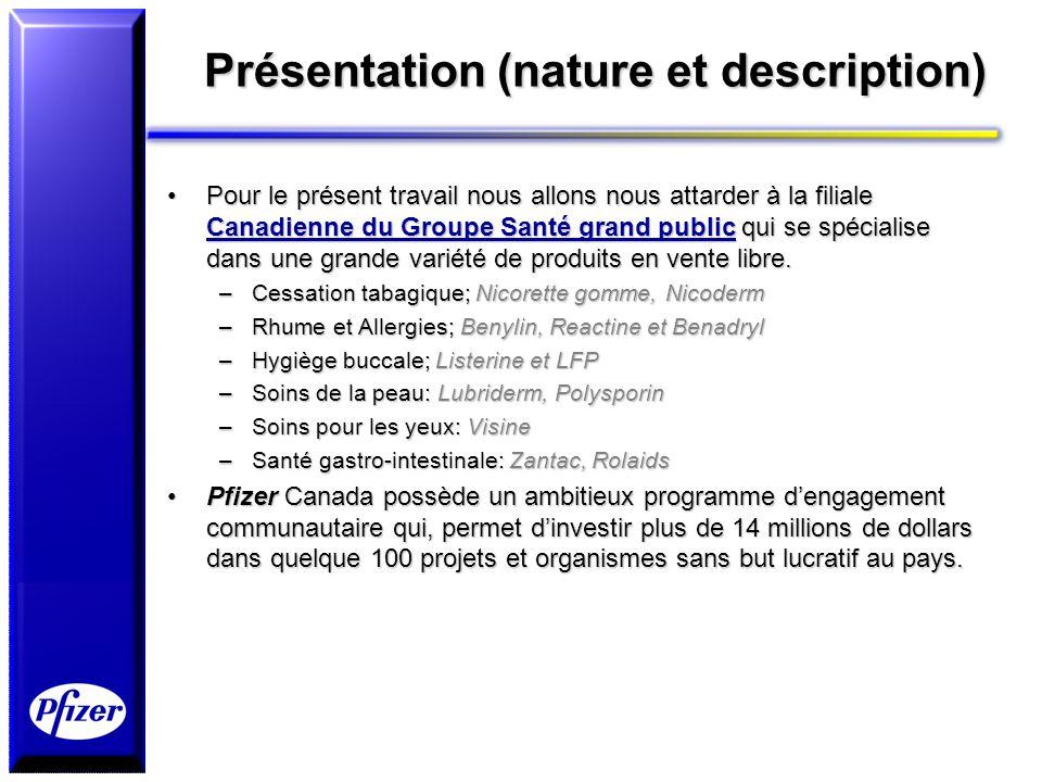 Présentation (nature et description) Pour le présent travail nous allons nous attarder à la filiale Canadienne du Groupe Santé grand public qui se spé