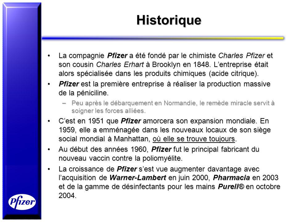 Historique La compagnie Pfizer a été fondé par le chimiste Charles Pfizer et son cousin Charles Erhart à Brooklyn en 1848. Lentreprise était alors spé
