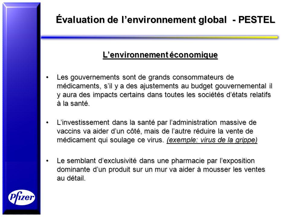 Évaluation de lenvironnement global - PESTEL Lenvironnement économique Les gouvernements sont de grands consommateurs de médicaments, sil y a des ajus