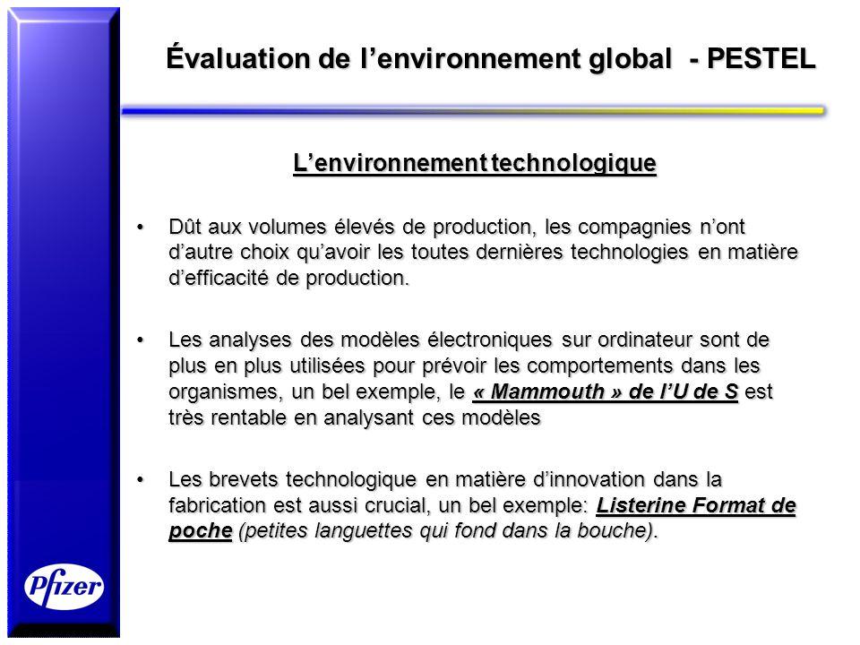 Évaluation de lenvironnement global - PESTEL Lenvironnement technologique Dût aux volumes élevés de production, les compagnies nont dautre choix quavo