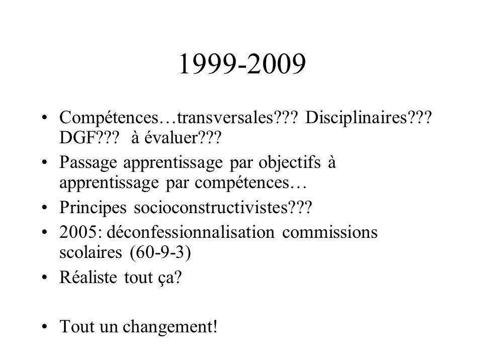 1999-2009 Compétences…transversales??? Disciplinaires??? DGF??? à évaluer??? Passage apprentissage par objectifs à apprentissage par compétences… Prin
