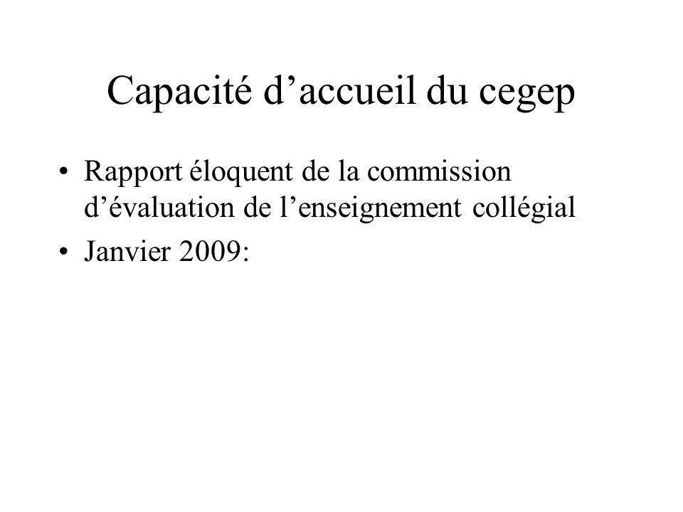 Capacité daccueil du cegep Rapport éloquent de la commission dévaluation de lenseignement collégial Janvier 2009: