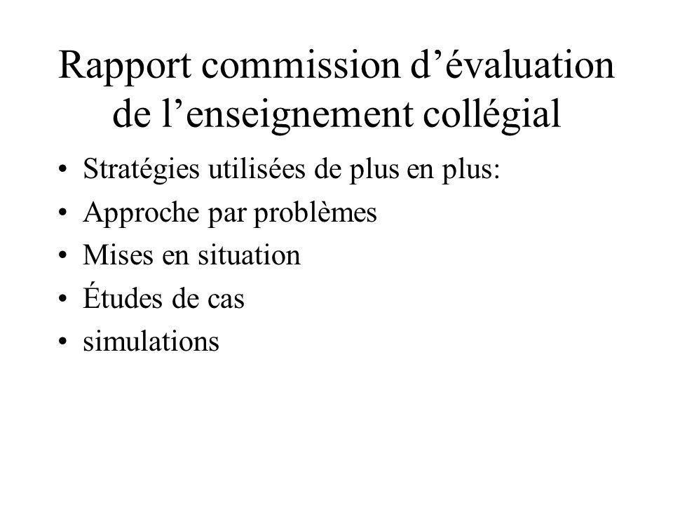 Rapport commission dévaluation de lenseignement collégial Stratégies utilisées de plus en plus: Approche par problèmes Mises en situation Études de cas simulations
