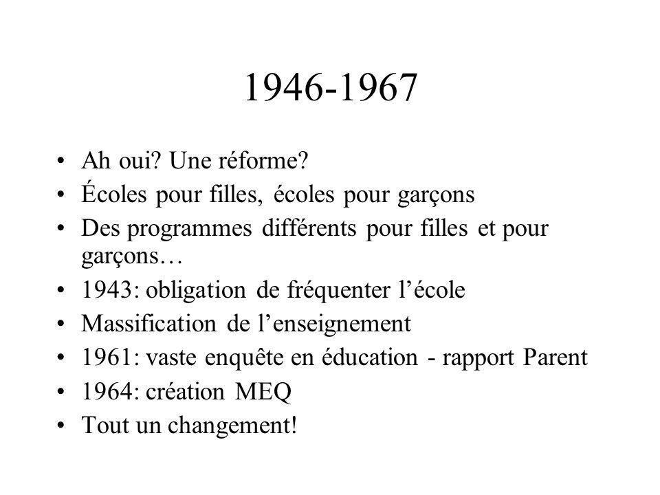 1946-1967 Ah oui? Une réforme? Écoles pour filles, écoles pour garçons Des programmes différents pour filles et pour garçons… 1943: obligation de fréq