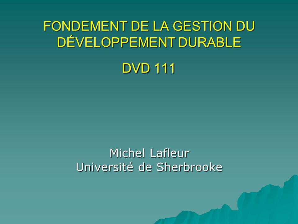 FONDEMENT DE LA GESTION DU DÉVELOPPEMENT DURABLE DVD 111 Michel Lafleur Université de Sherbrooke
