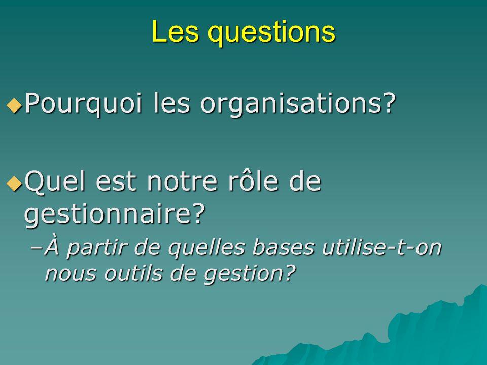 Les questions Pourquoi les organisations? Pourquoi les organisations? Quel est notre rôle de gestionnaire? Quel est notre rôle de gestionnaire? –À par