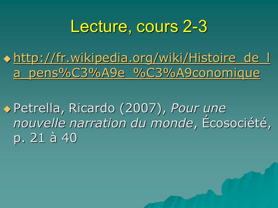 Lecture, cours 2-3 http://fr.wikipedia.org/wiki/Histoire_de_l a_pens%C3%A9e_%C3%A9conomique http://fr.wikipedia.org/wiki/Histoire_de_l a_pens%C3%A9e_%