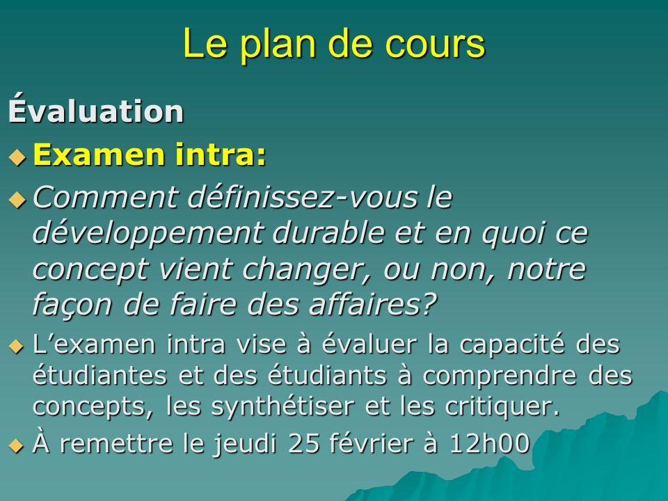 Le plan de cours Évaluation Examen intra: Examen intra: Comment définissez-vous le développement durable et en quoi ce concept vient changer, ou non,